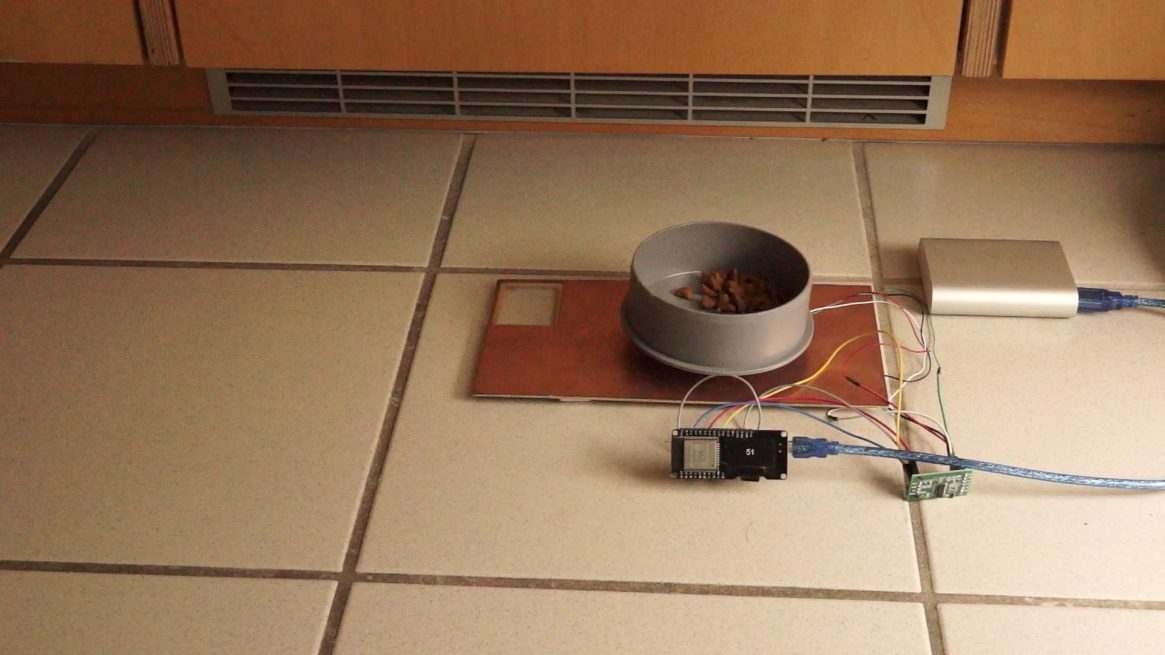 Connected Cat Feeder Using a Strain Gauge and an ESP32 (Video #161)